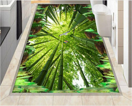 Wholesale Bathroom Marble Walls - living room wallpaper Marble 3D cliff bamboo bathroom kitchen walkway floor stickers wall papers home decor