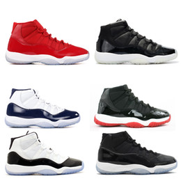 Wholesale Navy Black Shoes - Wholesale 11 Miami Hurricanes PE Gym Red Midnight Navy Black Stingray Bred Shoes 11s Mens Womens Kids Basketball Sneaker