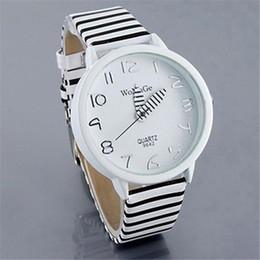 cinturones de cebra Rebajas Moda cebra correa rayada reloj de cuarzo mesa redonda caso casual reloj de pulsera para mujeres hombres