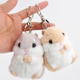 Wholesale white dog stuffed animal wholesale - Baby Kids Kawaii Cute Soft Plush Cartoon Animal White Khaki Small Hamster Toy Doll Key Chain Stuffed Mouse Toy