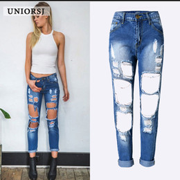 3877478e5b1 Sexy Plus Size Ripped Boyfriend Jeans Femme Baggy Destroyed Jeans for Women  with Big Hole Loose Denim Pants 5 colors