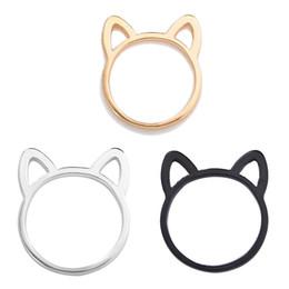2019 paar ring katze Neue Stil Paar Schmuck Silber / Schwarz / Gold Farbe Ring Nette Katze Ohr Ringe Für Frauen Großhandel günstig paar ring katze