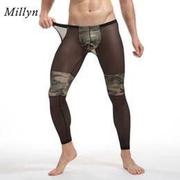 2019 pantaloni legging stretti degli uomini di modo MILLYN Moda Uomo Sexy Trasparente Collant Mimetico Traspirante Bodybuilding sheer Mesh pantaloni legging lungo johns M-XXL pantaloni legging stretti degli uomini di modo economici