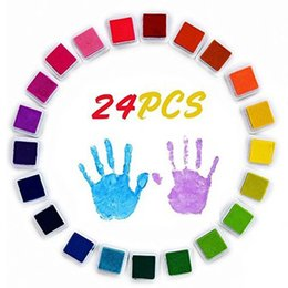 Selos bonitos da tinta on-line-12/20/24 Cores Bonito Aquarelas Inkpad Artesanato À Base de Óleo Almofadas De Tinta DIY para Carimbos De Borracha Scrapbook Wedding Decor Finger Print