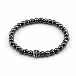 6 мм микро шарики онлайн-New Arrival 6mm Hematite Bracelet Beaded Jewelry Men's Yoga Buddha Micro Pave Zircon CZ  chakra Bracelets for Women