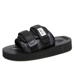 hotel pantoffeln seide Rabatt Luxus Designer Frauen Sandalen Masterminds JAPAN x Suicoke Sommer Trip Fest Schwarze Seide Sohle Sandale Slides Slippers Hausschuhe