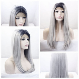 Wholesale Long Gray Wigs For Women - Whloesale Cheap Two Tones Black Gray Ombre Gray Silky Straight Long Wigs Heat Resistant Glueless Synthetic Lace Front Wigs for Black Women