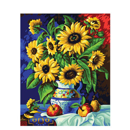 Wholesale Pictures Numbers - Artsailing Pictures By Number On Canvas Yellow Sunflowers Apples Wall Art Canvas Paintings DIY Painting By Numbers Poster NP-117