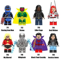 Wholesale Toms Style - New Style Minifig Super Heroes Series Mix Lot RacingIron Man Whiplash Black Tom Cassidy Red Widow X0173 Minifig Mini Building Blocks Figures