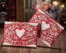 animação de desenho animado de casamento Desconto Estilo do coração de Casamento Cartões de Convite de Casamento de Corte A Laser Vermelho ou Ouro 50 pçs / lote Customizalbe Frete Grátis