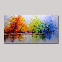 Wholesale modern abstract painting tree - 100% Handpainted Color Tree Knife Modern Oil Painting On Canvas Wall Decor Wall Art Wall Pictures For Living Room Home Decor