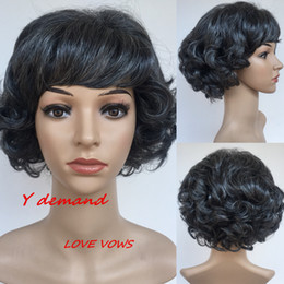 Wholesale Short Wigs Wholesale - MOM Gift Short Grey wig New Stylish Synthetic Wigs Kinky Curly hair Highlights wig for Old Women Glamorous Fashion
