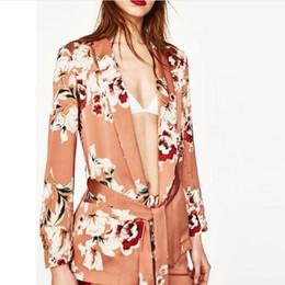 Wholesale Women Flower Blazer - Chic Flower print Sashes Waist Orange Blazer New Woman Shawl Collar Slim fit Mid long Suit Jacket Coat Outerwear With Belt