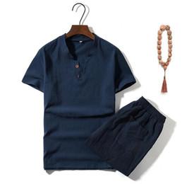 Vestiti di stile vintage online-Cotone Stile Mens Lino vestito di modo sottile di estate cinese Vintage maniche corte con scollo a V Suit M-5XL Plus Size Tuta