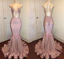 Dusty Pink Stunning lunghi cristalli paillettes Prom Dresses New Spaghetti cinghie sirena Backless abiti da sera formale usura del partito BA8240 da