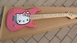 Wholesale sky blue guitar - 2018 New Wholesale Hello Kitty Children Electric Guitar with Maple Fretboard,Pink or Sky Blue Can be Choosed,Offer Customized