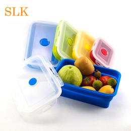 cibo di plastica quadrato Sconti Scatole da pranzo pieghevoli in silicone per alimenti contenitori per alimenti con coperchio in plastica trasparente