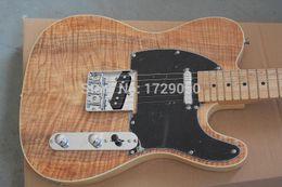 2019 körper-telecaster-gitarren China Gitarrenfabrik benutzerdefinierte neue neue feste Körper natürliche Farbe Ahornholz Top Standard Telecaster elektrische Gitarre 1221
