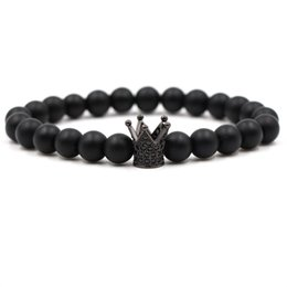 Эластичные браслеты онлайн-Pave CZ Crown Charm Bracelets Elasticity Adjust Size Men Natural Matte Stone  For Women Men Jewelry yoga Pulseira