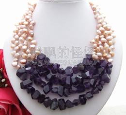 Pepitas de perlas online-N041513 Collar 4Strands Pearl Nugget