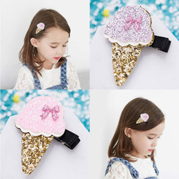 Wholesale wholesale korean ice cream - Korean Fashion sequin ice cream Girl Hair Clips princess baby Barrettes kids Hairclips Children Hair Accessories Alligator Clips A1760