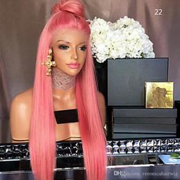 En Satış Cosplay Pembe Uzun Ipeksi Düz Dantel Peruk Isıya Dayanıklı Yüksek Kalite Sentetik Saç Siyah Kadınlar için Tutkalsız Dantel Ön Peruk supplier silky top lace wigs nereden ipeksi top dantel peruklar tedarikçiler