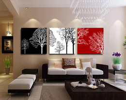 Wholesale Black White Tree Art - Original Oil Ink 3 Panels Canvas Black white Red Tree Painting On Canvas Wall Art Picture Home Decor THR046