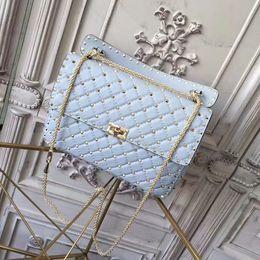 Canada 2018 Nouveau W30cm ciel bleu femmes Top Fashion sac à bandoulière en cuir en peau de mouton rivets Designer sac à main sac de soirée Offre