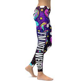 Wholesale cartoon leggings woman - Pottis Print Leggings Push Up Fitness Sexy Cartoon 3d I'm not weird Women Casual Funny Fitness Yoga Pants