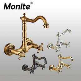 Wholesale antique bathroom wall faucet - 360 Swivel Antique Brass Bathroom Basin Sink Mix Tap Dual Handles Wall Mounted Kitchen Basin Sink Mixer Faucet