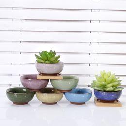 Wholesale Basin S - Ceramics Flowerpot Mini Multicolour Succulents Breed Base Special Purpose Basin Reusable Plant Flower Herb Bed Succulent Pots 180402