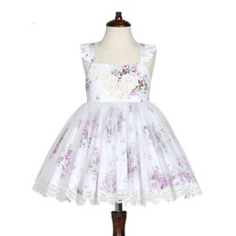 Wholesale Fly Briefs - Flower girls dress baby kids floral printed lace-up bows dress girls fly sleeve lace crochet wave tulle dress kids princess dresses A00180