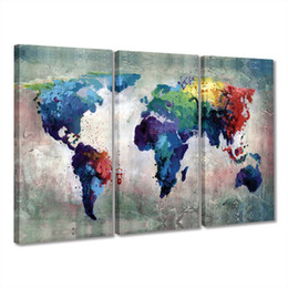 Wholesale pictures office walls - Watercolor World Map Wall Decal Canvas Painting 3 Panels Pieces Wall Art Abstract Giclee Prints Artwork for Living Room Office Decor