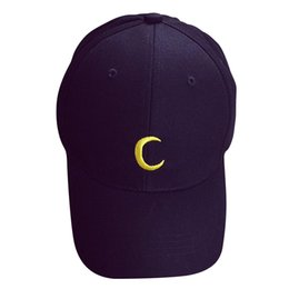 Wholesale baseball cap shape - Unisex Men Women Hip-Hop Baseball Cap Curved Snapback Adjustable Peaked Hat, Moon shape Black