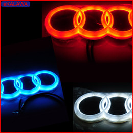 Wholesale Led Lights For Audi Q7 - 4D Car Emblem Car Logos Badge Light Case for Audi Front and Rear Replacement DRL Red Blue White option fit for A4 A6 A8 Q5 Q7 etc....