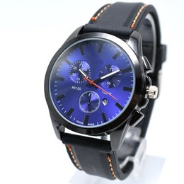 Wholesale fake dress - Hot selling 40mm fashion sport brand men quartz silicone watch top quality fake three needle auto date men dress watch wholesale men's gifts