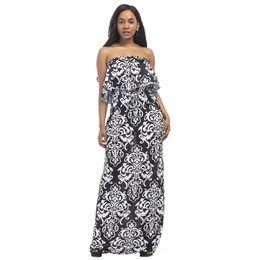 6306b0076c Vintage Femmes Plus Size Dress Ethnic Contrast Imprimé Sans bretelles  parole longueur Robe Bandeau À Volants Dos Ouvert Maxi Robe Longue