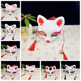 Diseños de media mascaras online-Máscara de medio estilo japonés Fox Cat Design con borlas Eco Friendly Máscaras de PVC para Party Masquerade Dress Up Props 4 8yd Z