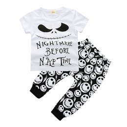 infants pajamas Promo Codes - Newborn Baby Boys Clothing Toddler T-shirt+Pants 2PCS set Skull Heads Outfit Infant Boutique Casual Clothes Kids Costume Children Pajamas