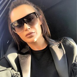 2019 super lunettes de soleil Lunettes de soleil Flat Top Femmes Grandes lunettes de soleil Mode Super star Marque Designer Surdimensionné Clair Gradient Soleil Verre Gafas De Sol super lunettes de soleil pas cher