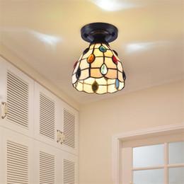 2019 techo luz color vidrio Tiffany Luz de techo Vidriera de colores Estilo del mar Mediterráneo Comedor Voltaje de entrada: AC85-265V Fuente de alimentación: 1pcs * 3W bombillas (incl techo luz color vidrio baratos
