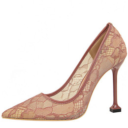 1c3a0b4ad896 2018 New Womens High Heel Fashion Shoes Cut-Outs Lace Mesh Special Party  Dress Shoe Sexy Pointed-Toe Club