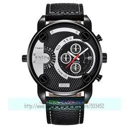 Discount big brown leather wrist watch - 50pcs lot xinew-7258 Big Watches Mens Leather Band Date Sports Quartz xinew Wrist Watch