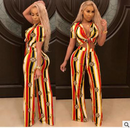 Wholesale ladies sexy suits - Summer women pants suits Sexy ladies clothing Lace-up Cardigan High-Wide Wide Leg Pants Metal element printing two piece New casual suit