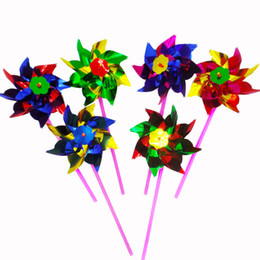 Wholesale Blue Plastic Gift Bags - 100pcs bag Colorful Windmill DIY Garden Windmill Colorful Wind Spinner 36.5*15*0.8CM Sheet Small Windmills Outdoor Toy Kids Novelty Gift