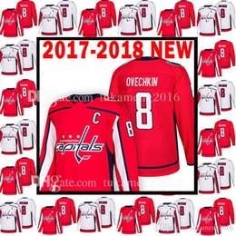 Washington nueva jersey online-2017-2018 NUEVOS Washington Capitals 8 Alex Ovechkin Jersey 18 Hombres 8 Alex Ovechkin Camisetas de hockey para adultos