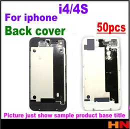 Wholesale Battery Case 4s - 50pcs For iphone 4 4S iphone4 iphone4S Glass Back Cover Housing Case Battery Door Cover With Flash Diffuser Black White