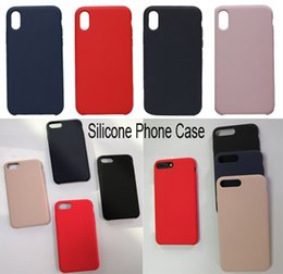 Wholesale Covers For Cell Phones - For iPhone X Liquid Silicone Gel Rubber Shockproof Case Silicone Cover Cell Phone Cases for Iphone 6 6plus 7 7plus 8 8plus MobilePhone Cover