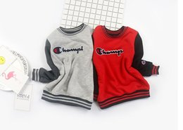 Wholesale Kids Pullover Sweatshirts - Children Autumn Winter Long Sleeve T-shirt Tops Kids Cute Solid Baby Sweatshirts Hoodies Pullover Clothing for Child championan