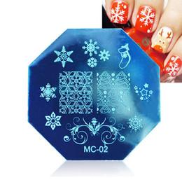 Esmaltes de natal on-line-DIY Octagon Nail Art Decoração Manicure Ferramenta Nail Art Print Template Natal Floco De Neve Cervos Impressão Stencil Placas de Selo